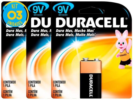 Bateria Alcalina Duracell 9v Original Kit ( 3 Unidades )
