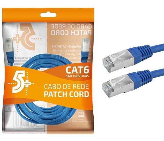 Cabo De Rede Blindado 5m Ethernet Rj45 Cat6 Azul 5 Metros
