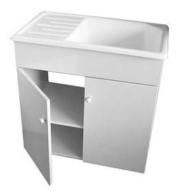 Mueble Lavadero Mdf Laqueado + Pileta 75 X 45 Fibra Mesada
