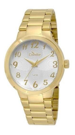 Relógio Condor Feminino Dourado Fundo Branco Co2036kov/4b