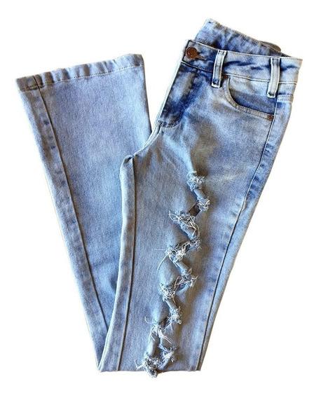 Calça Jeans Flare Feminina Rasgada Délavé Pbr 018f