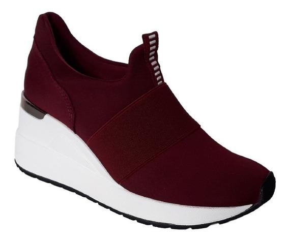 Tênis Feminino Anabela Plataforma Sneaker Bordo Via Marte