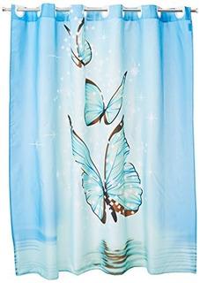 Colchas Concord Mariposa Cortina De Baño, Color Azul