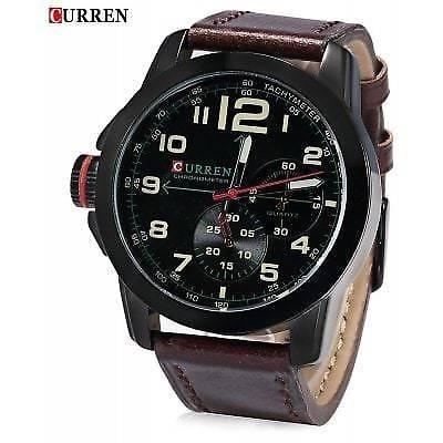 Relógio Curren Original 8182 Marrom Escuro Novo Militar