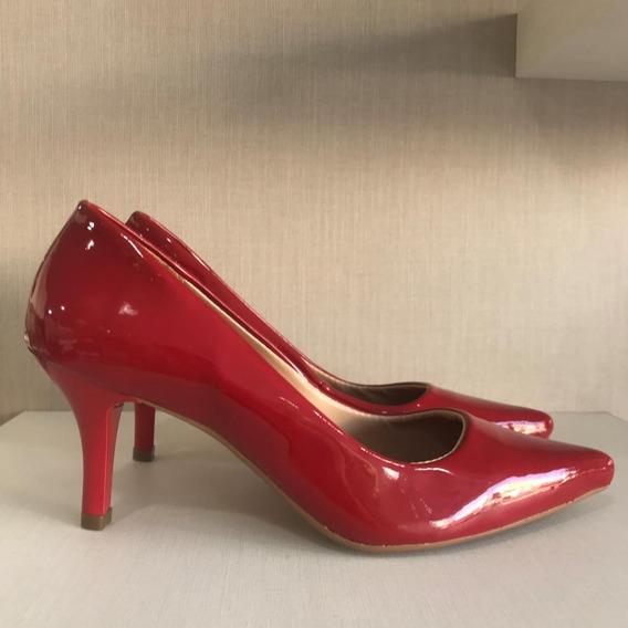 Sapato Scarpin Casual Verniz Salto Baixo Conforto