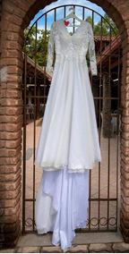 Vestido Noiva Off Perola Renda Manga Comprida Tamanho 38