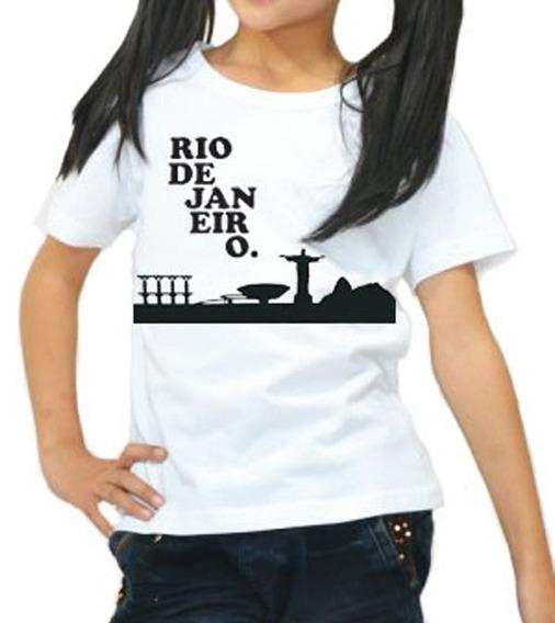 Camisa Infantil Em Algodao Estampa Meu Rio De Janeiro
