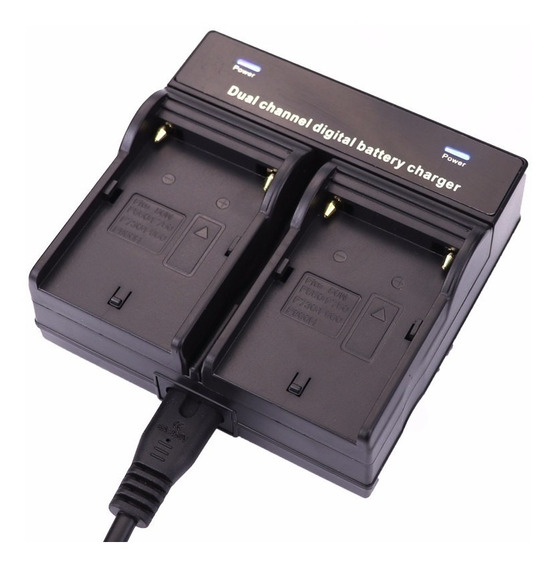 Carregador Duplo P/ Bateria De Led Np-f550 F570 Np-f970 Sony