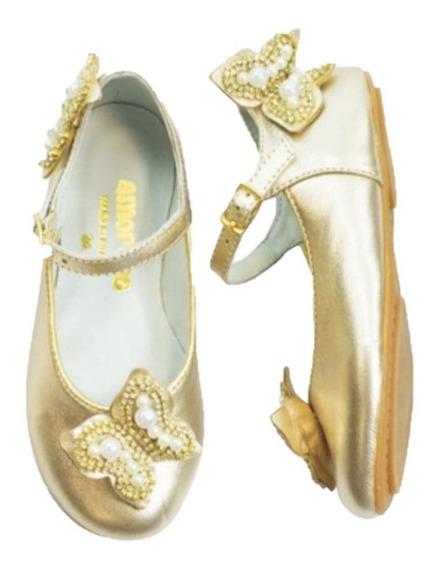 Sapato Infantil Feminino Amoreco Dourado Festa Oferta
