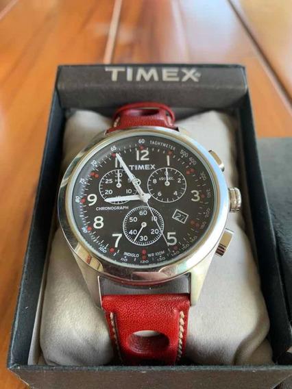 Relógio Timex Vermelho Pulseira De Couro