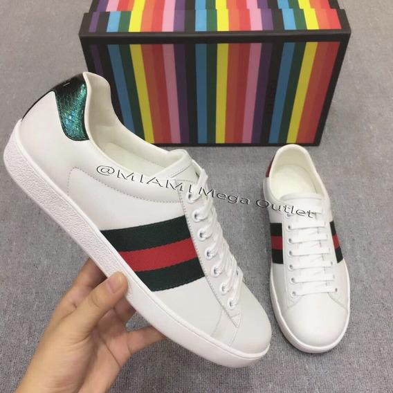 Tênis Unissex G U C C I Stripes - White Color