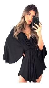 Vestido Kimono Curto Blusa Feminina Blusao Camisa Roupas