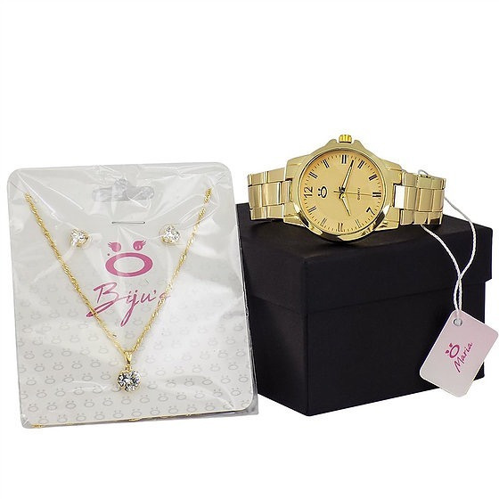 Kit Relógio Feminino Dourado Original + Colar/brinco