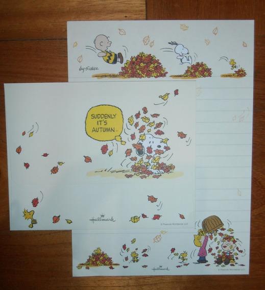 Lindo Lote De Papel De Carta Snoopy - 34 Itens