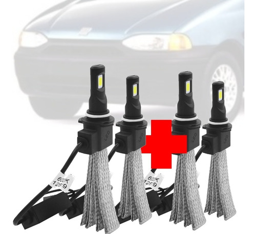 Imagem 1 de 6 de Combo Lampada Led Flex H1 H7 Fiat Palio Gii