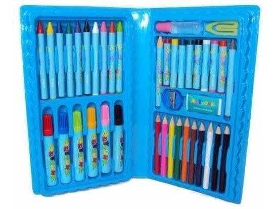 Estojo Pintura Escolar 48 Peças Canetinhas Giz Lápis Azul