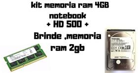 Kit Memoria Ram Ddr3 4gb + Hd De 500 + Brinde