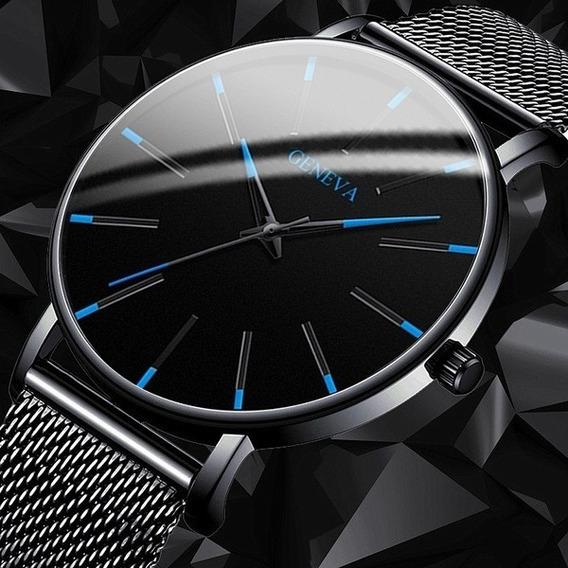 Moda Mens Relógios De Aço Inoxidável Ultra Fino Simples