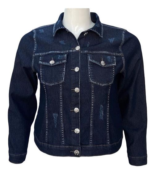 Jaqueta Jeans Feminina C/ Puído Plus Size Tamanhos G Ao Gg3