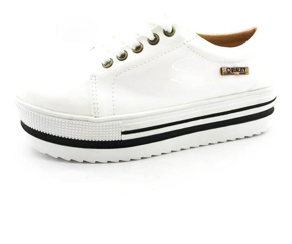 Tênis Flatform Quality Shoes 007 Verniz Branco Sola Alta Com