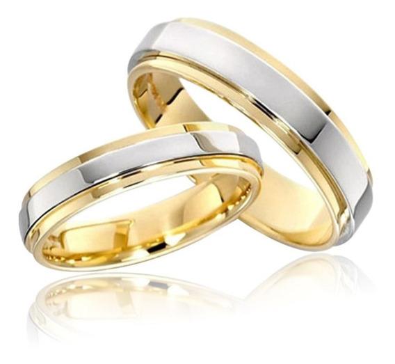 Par Alianças Anel De Compromisso Banhado A Ouro 18k Namoro