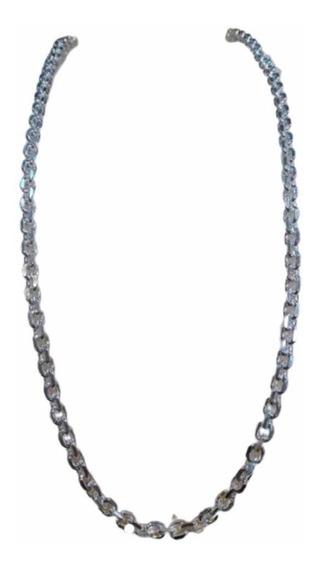 Cordão Corrente Masculina Prata 925 Maciça Cartier Cadeado