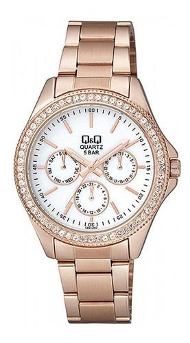 Reloj Q&q Qyq Ce01j002y Para Dama Lujoso Oro Rosa Blanco