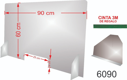 Mampara Sanitaria Proteccion Para Mostrador 60x90 3mm Esp