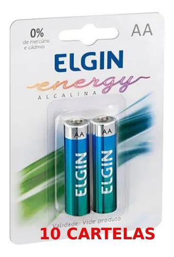 Imagem 1 de 1 de Caixa C/ 20 Pilha Alcalina Aa Elgin 10 Cartelas Com 2