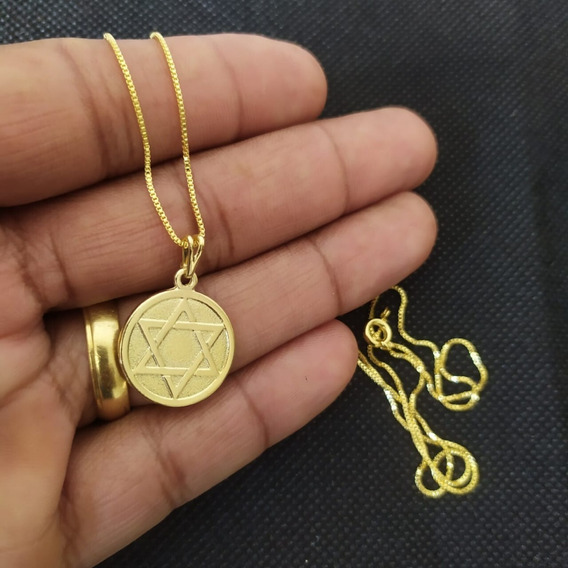 Corrente 60 Cm Pingente Estrela De Davi Moeda Folhead A Ouro