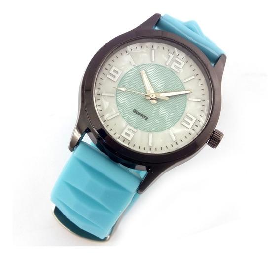 Relógio Feminino Quartz Com Pulseira Verde Em Borracha B5626