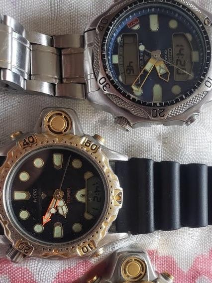 Dois Relógios Citizen Um Aqualand C22 Outro C500 Série Prata