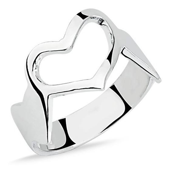 Anel De Prata Coração Liso Prata Rara