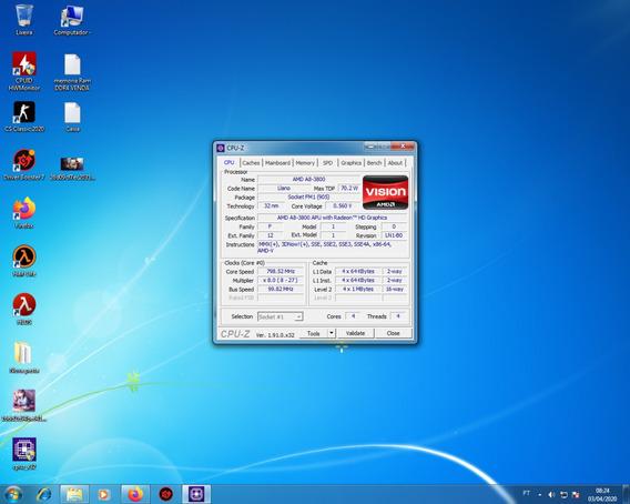 Processador Fm1 A8 3800 2.40ghz 4 Nucleo 4 Threads