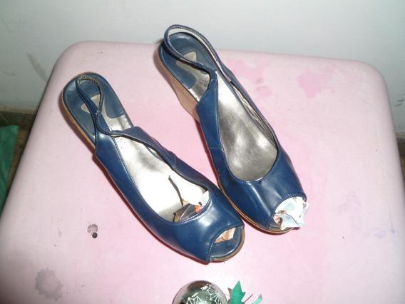 Sandalias Azules Mujer Usadas. Talle 37 Plantilla 24