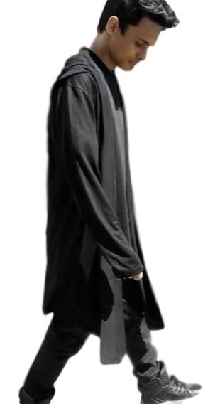 Cardigan Masculino Longo Com Capuz Sobretudo Casaco Longline