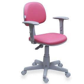 Cadeira Secretária Giratória Rosa Base Cinza Couro Eco