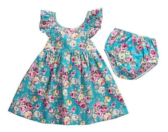 Lindo Kit - Vestido Infantil Florido - Azul + Calcinha