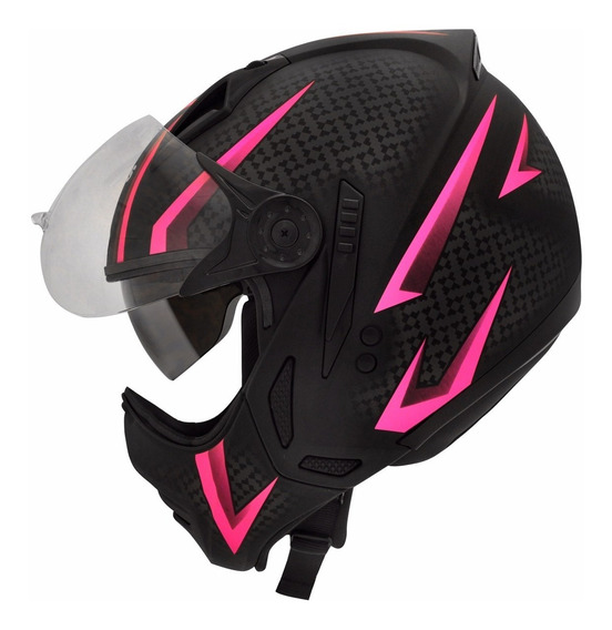Capacete Moto Feminino Peels Mirage Storm Preto Rosa