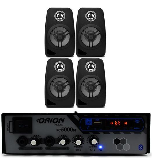 Kit Som Ambiente 300w Bluetooth + 4 Caixas Pretas 55w
