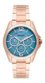 Relógio Orient Feminino Prata Fundo Azul Perolado Frssm022