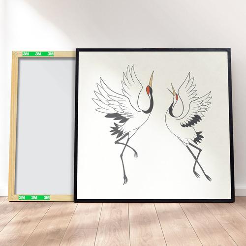 Imagem 1 de 4 de Quadro Decorativo 40x40 - Pássaro Tsuru Japonês M3