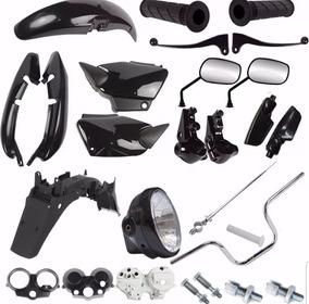 Kit Carenagem + Kit Guidao Farol Fan 125 2004 A 2008 Preto