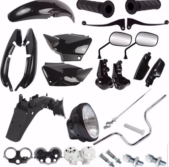 Kit Carenagem + Kit Guidao Farol Fan 125 2004 A 2008 Preto