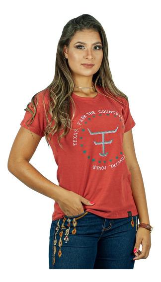 Camiseta Feminina Country Texas Farm- Ferrugem Cf070 +brinde