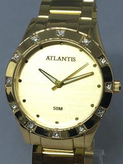Relógio Feminino Dourado Atlantis G3320 Original