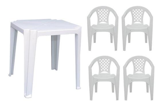 Mesa Plastico Quadrada Truco Branca C/ 4 Cadeiras C/ Apoio