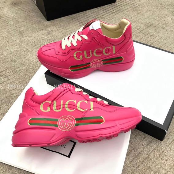 Tênis Gucci Rhyton Rosa Logo - Frete Grátis