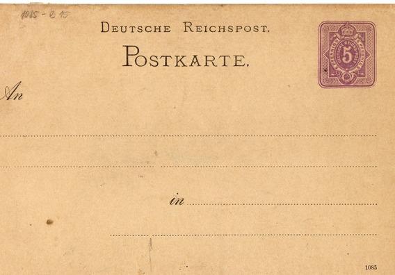 Reich Entero Postal Sin Uso Baja Base
