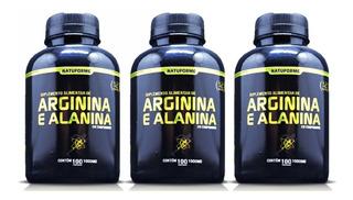 03 Arginina + Alanina 300caps 1000mg No2 Oxido Nitrico